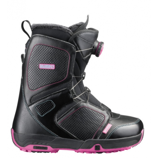 Salomon Pearl Boa Womens Boot black fancy pink
