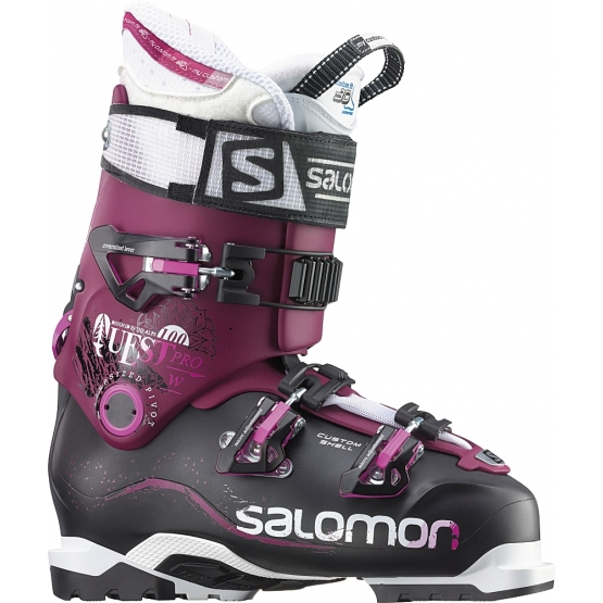Salomon Quest Pro 100 Womens Skiboot black burgundy 25.5