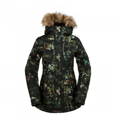 Volcom Shadow Ins. Women Jacket black floral print